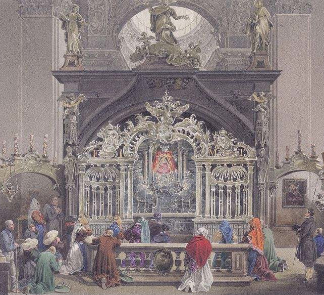 Painting of Grace Chapel in Mariazell Basilica, also called Basilica of the Birth of the Virgin Mary, located in Austria. Painting by Eduard Gurk.