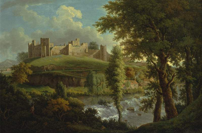 Ludlow Castle with Dinham Weir, from the South-West, painted by Samuel Scott.