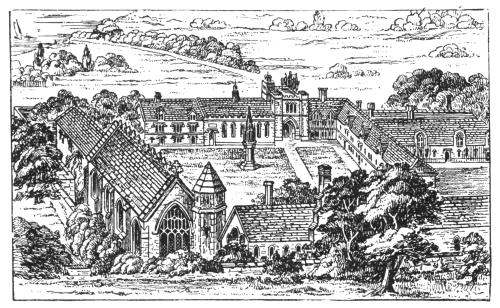 Line drawing of Bermondsey Abbey, England by Sir Walter Besant.