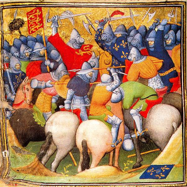 The English fighting the French knights at the Battle of Crécy in 1346.