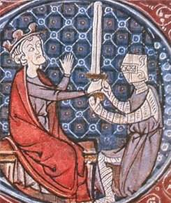 A medieval image of David I of Scotland knighting a squire.