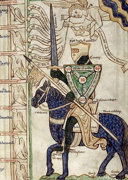 The miles christianus allegory (mid 13th century), showing a knight armed with virtues and facing the vices in mortal combat. The parts of his armour are identified with Christian virtues, thus correlating essential military equipment with the religious values of chivalry: The helmet is spes futuri gaudii (hope of future bliss), the shield (here the shield of the Trinity) is fides (faith), the armour is caritas (charity), the lance is perseverantia (perseverance), the sword is verbum Dei (word of God), the banner is regni celestis desiderium (desire for the kingdom of Heaven), the horse is bona voluntas (good will), the saddle is christiana religio (Christian religion), the saddlecloth is humilitas (humility), the reins are discretio (discretion), the spurs are disciplina (discipline), the stirrups are propositum boni operis (proposition of good works), and the horse's four hooves are delectatio, consensus, bonum opus, consuetudo (delight, consent, good work and exercise).