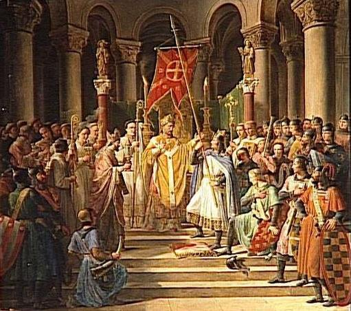 Philip II of France raising the oriflamme on June 24, 1190. Painting by Pierre Henri Revoil. The Oriflamme was the battle standard of the King of France in the Middle Ages. It was originally the sacred banner of the Abbey of St. Denis.