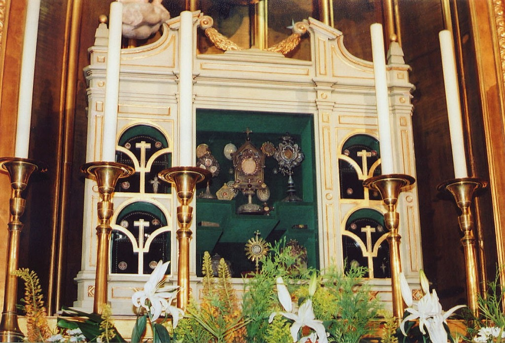 Various relics of Jesuit Saints on the side altar at the Jesuit Church in Madrid, Spain.