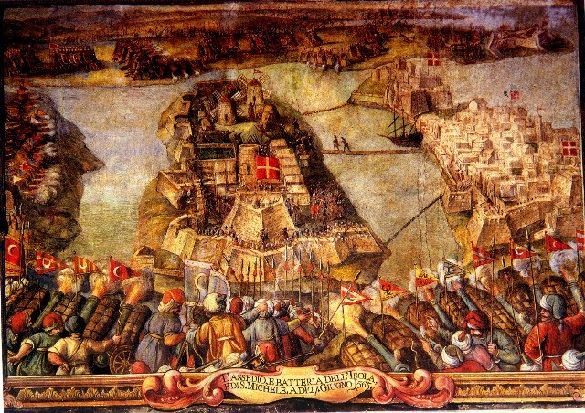 Siege of Malta. Fort St. Michael in the center, Birgu and Fort St. Angelo to the right, and Fort St. Elmo in the top right corner.