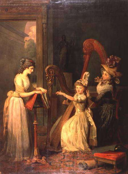 Harp lesson given by Madame de Genlis to Mademoiselle d'Orleans with Mademoiselle Pamela. Painting by Jean Baptiste Mauzaisse