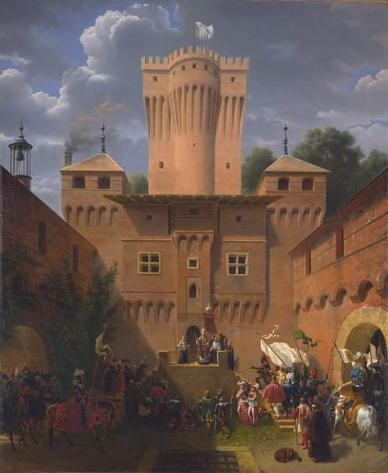 Crusaders Departing from the Castle of Wuflens, near the Lake of Geneva. Painting by Count Lancelot-Theodore Turpin de Crissé.