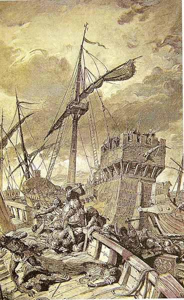 The Battle of Ostia in an 1829 engraving.
