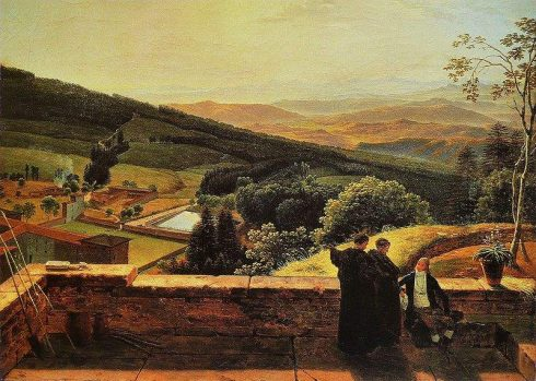 The Arno valley viewed from the Vallombrosa Abbey, painted by Louis Gauffier.