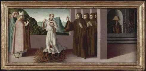 Bl. Peter Igneus crossing unharmed over the fire, by Marco Palmezzano