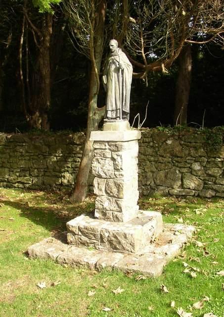 Statue of St. Samson of Dol on Caldey Island. Photo by Humphrey Bolton.