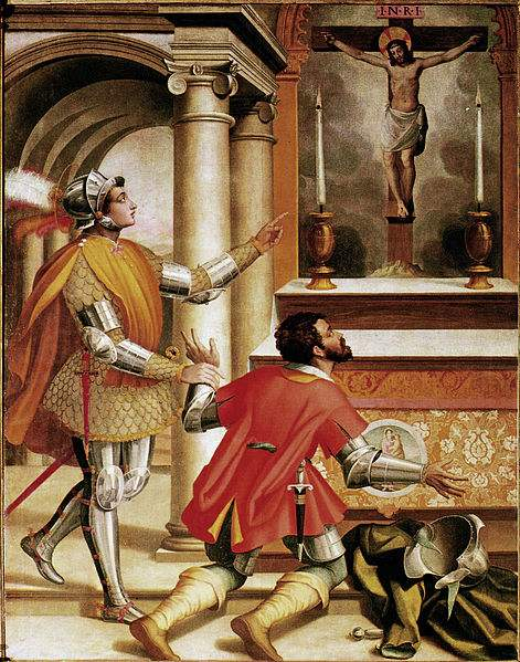 St. John Gualbert and the killer of his brother before the crucifix of San Miniato. Painted by Alessandro Pieroni.