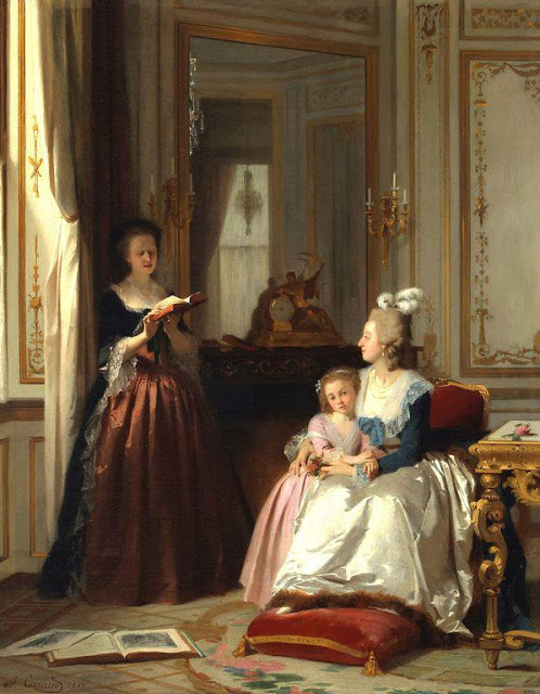 Madame de Lamballe reading to Marie Antoinette and her daughter, Marie Thérèse Charlotte. Painting by Joseph Caraud
