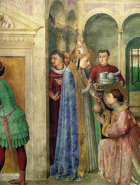 Saint Lawrence Receiving the Treasures of the Church from Pope Sixtus II, by Blessed Fra Angelico.