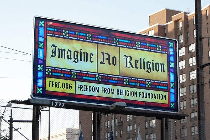Freedom From Religion Foundation sign on a street in Harrisburg, PA. Photo by Jason.