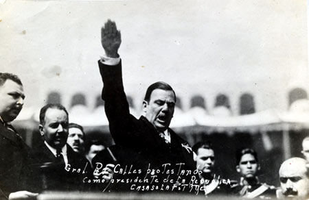Photo of Mexican President Plutarco Elias Calles, persecutor of the Catholic Church, taking the presidential oath.