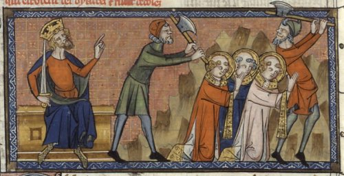 The martyrdom of Pope St. Sixtus II and his deacons.