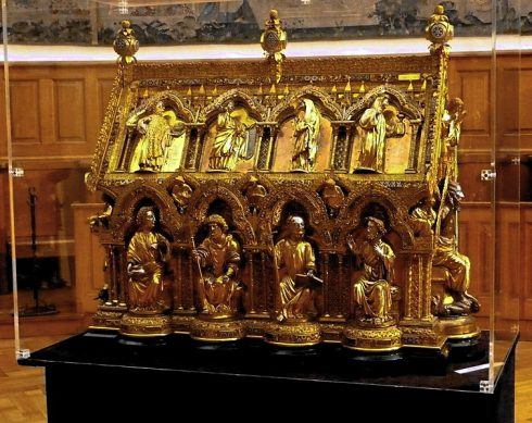The Reliquary Shrine of Saint Eleutherius, 1247, in the Cathedral of Tournai. Photo by Welleschik