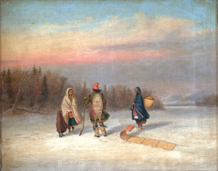 Caughnawaga Indians in Snowy Landscape in Canada, painting by Cornelius Krieghoff.