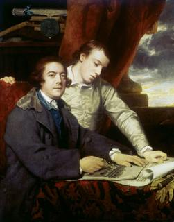 James Paine the elder and his son James Paine the younger. They are examining architectural plans for Worksop Manor. Painting by Joshua Reynolds.