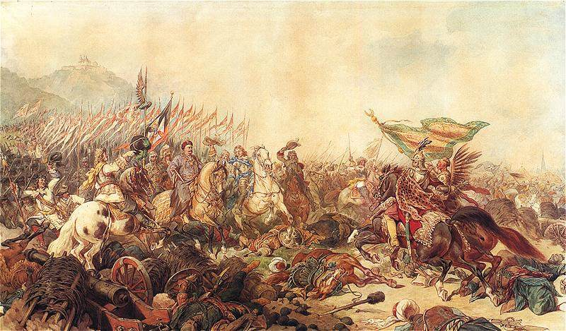 Jan III Sobieski at the Battle of Vienna. Painting by Juliusz Kossak.