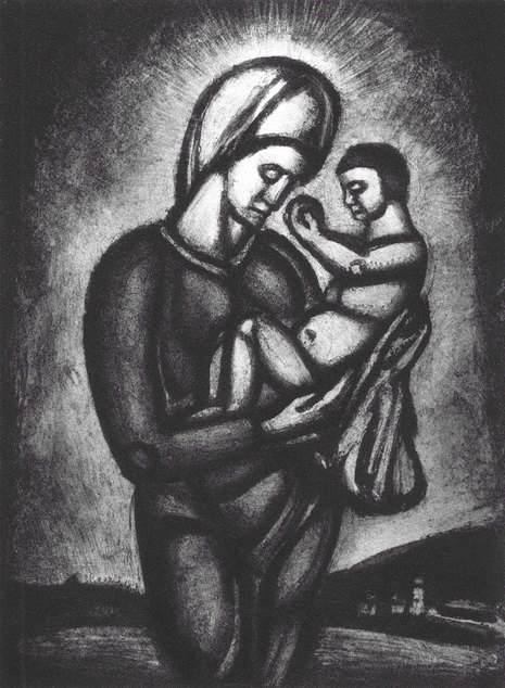 "Georges Rouault: ""Miserere"", Plate LVI and with this caption: ""In these dark times of vainglory and unbelief, Our Lady of the Ends of the Earth keeps watch."""