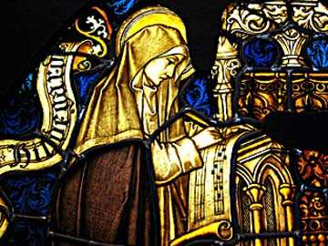 Stained glass of St. Hildegard
