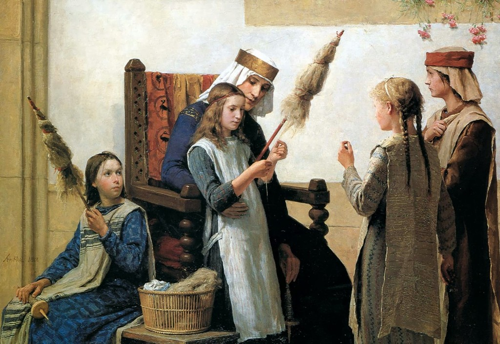 Queen Bertha and spinners. Painting by Albert Anker.