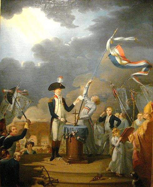The oath of La Fayette at the Fête de la Fédération, 14 July 1790. Talleyrand, then Bishop of Autun can be seen on the right. The standing child is the son of La Fayette, the young Georges Washington de La Fayette. French School, 18th century. Musée Carnavalet.
