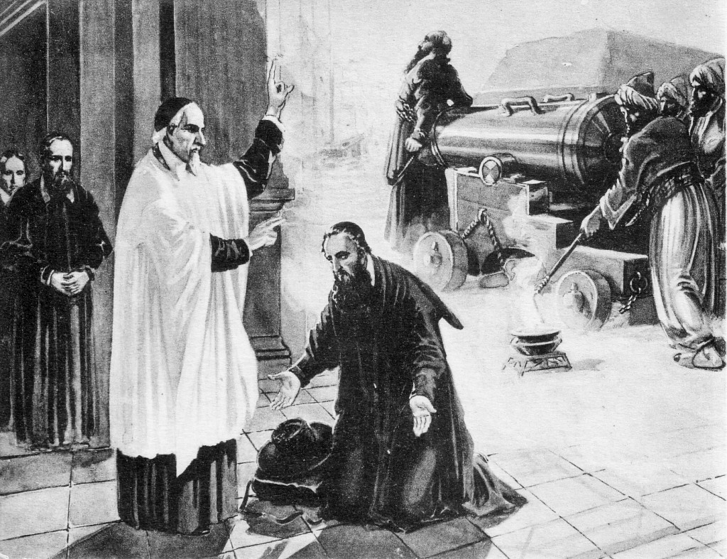 St. Vincent sends out Fr. Le Vacher to Algiers on the left and on the right, his martyrdom.