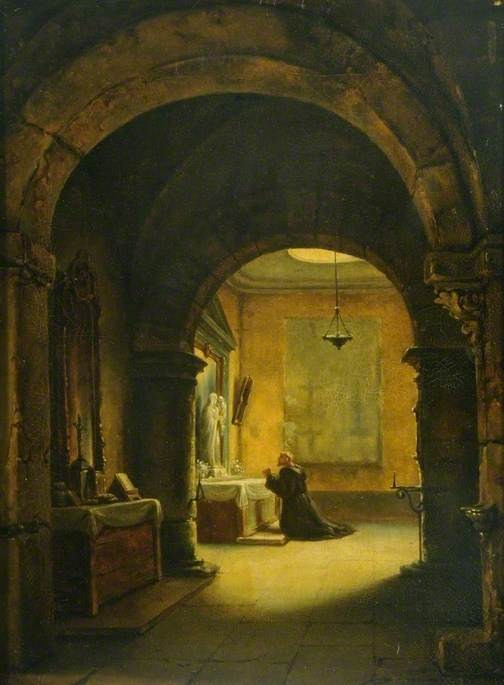 A Monk praying in the Chapel in a Monastery. Painting by François-Marius Granet.