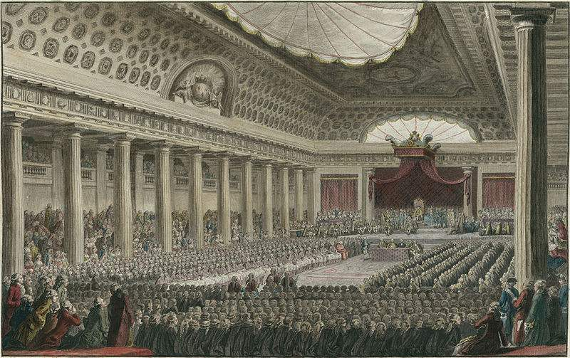 The opening of the Estates General May 5, 1789 in the Salle des Menus Plaisirs in Versailles.