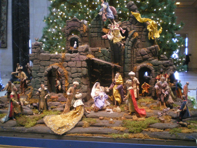 Neapolitan Presepio Figures that were purchased by Mrs. Sallie Casey Thayer of Kansas City from Prince Fabrizio Massimo, whose historic collection was exhibited in 1914 at the Castel Sant'Angelo, Rome. Most of the costumes are original.