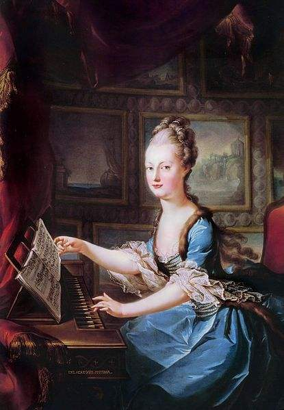 Marie Antoinette playing the clavichord painted by Franz Xaver Wagenschön shortly before her marriage.