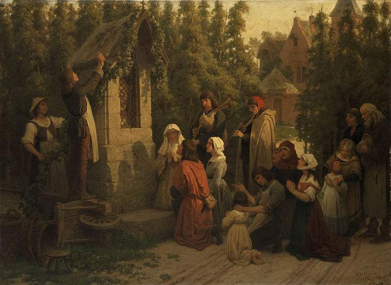 Prayers at a roadside shrine before the harvest. Painting by Félix de Vigne.