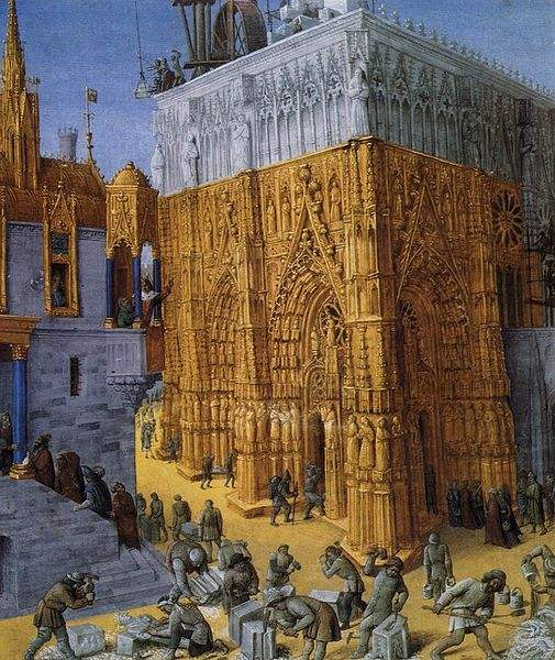 The Building of a Cathedral with the King overseeing the work. Painted by Jean Fouquet.