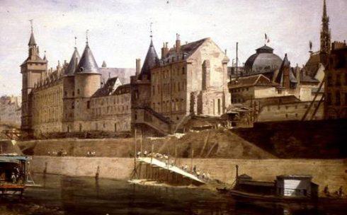 The Conciergerie Prison where Marie Antoinette was imprisoned before her death. Painted by Adrien Dauzats.