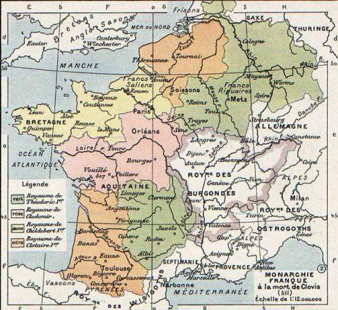 A map of Gaul in 511 AD from Vidal-Lablache, Atlas général d'histoire et de géographie (1894).