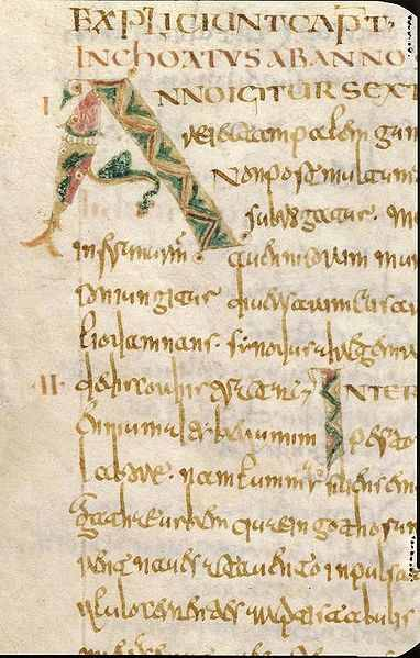 A page of the manuscript Historia Francorum Fol. 79v, written by St. Gregory of Tours.