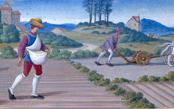 October: Sowing and Ploughing. Illuminated by Jean Poyer.