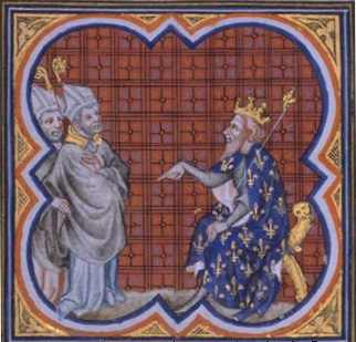 St. Gregory and King Chilperic I, from the Grandes Chroniques de France de Charles V, 14th century illumination.