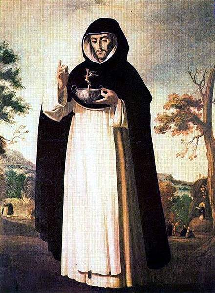 St. Louis Bertrand, who is holding a cup with poison, blesses it and the demon leaves the cup. Painting by Francisco de Zurbarán.