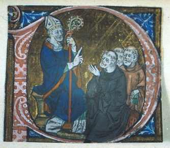 St. Erkenwald instructing monks. A historiated initial from the Chertsey Breviary.