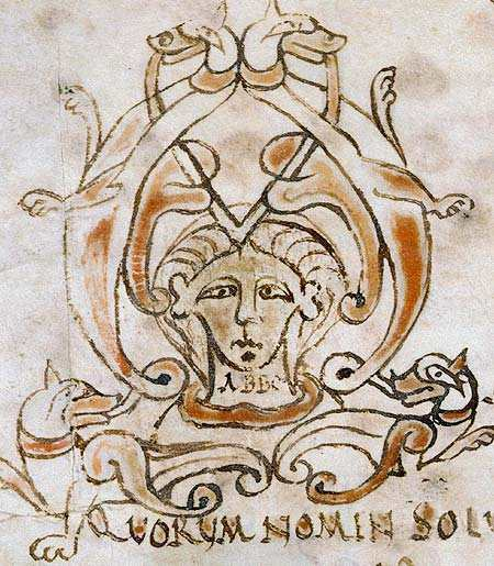 "Title page from a tract written by Abbo of Fleury, showing the word ""ABBO"", created between 962 and 986 in Fleury Abbey."
