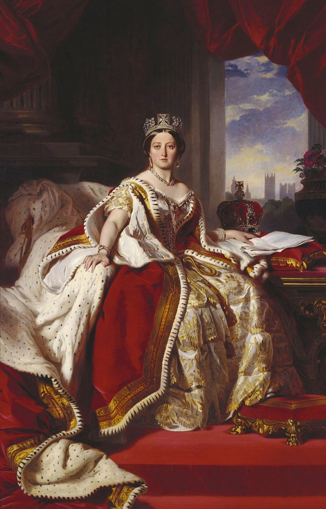 Portrait of Queen Victoria in her coronation robes and wearing the State Diadem. Painting by Franz Xaver Winterhalter 1845.