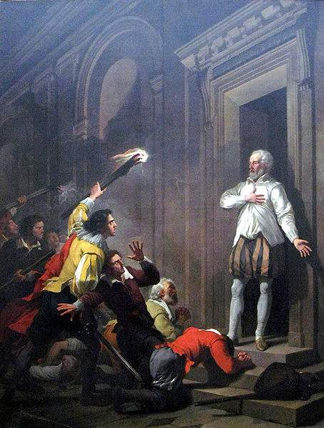 Admiral de Coligny impressing his murderers.
