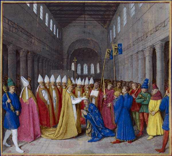 Charlemagne is crowned Emperor by Pope St. Leo III. Illumination by Jean Fouquet