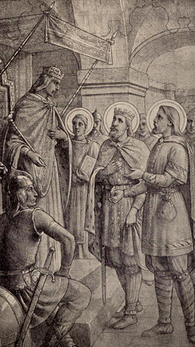 Saint Judicael presented Dagobert, King of the Franks.
