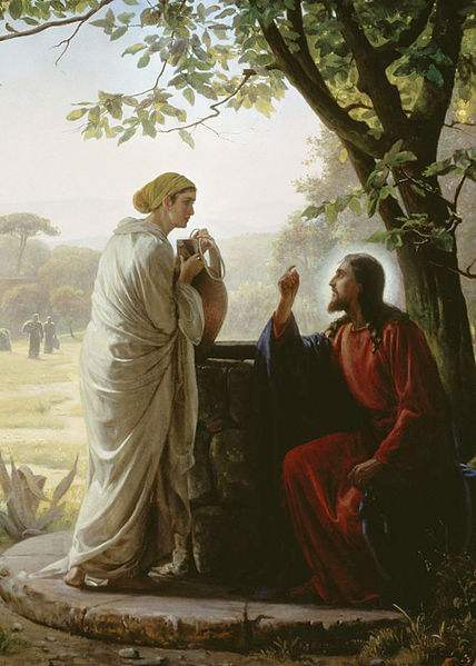 Our Lord and the Samaritan woman at the well. Painting by Carl Heinrich Bloch.