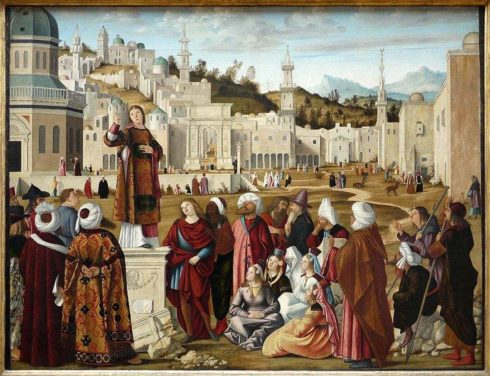Sermon of St. Stephen at the gates of Jerusalem, painted by Vittore Carpaccio.